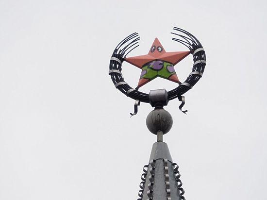 ВВоронеже звезду нашпиле высотки превратили вПатрика из«Губки Боба»